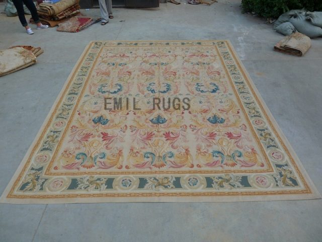flat weave aubusson carpets 9' X 12' Ivory Field Green Border authentic 100% New Zealand wool french