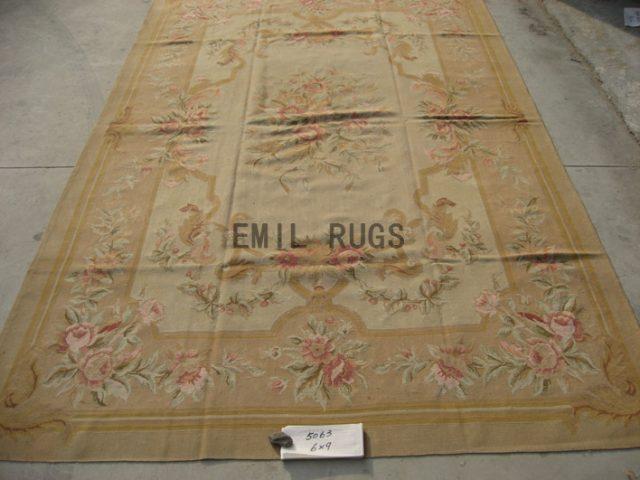flat weave aubusson carpet 6' X 9' Ivory Field Pink Border hand woven