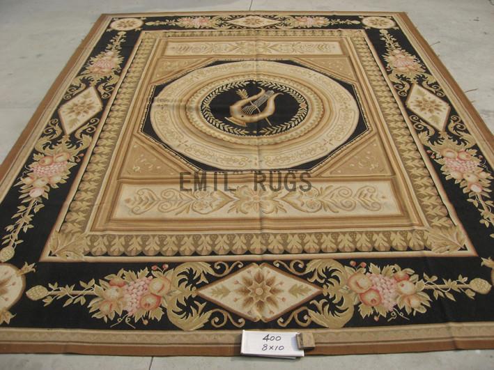 flat weave aubusson carpet 8' X 10' Ivory Field Black Border handmade