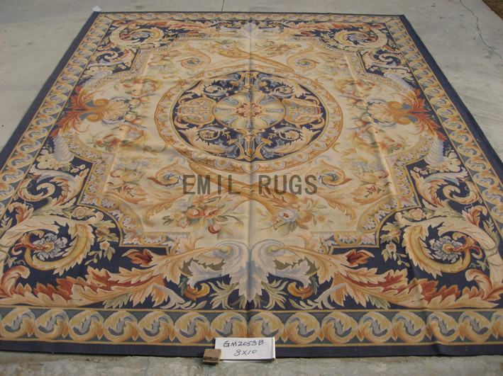 flat weave aubusson rugs 8' X 10' Ivory Field Blue Border hand woven