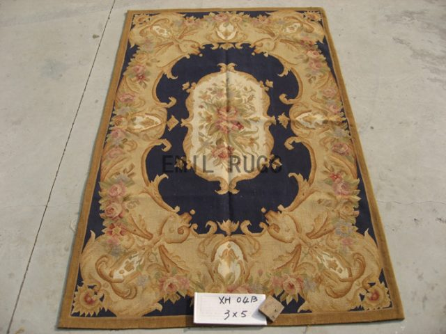 flat weave aubusson rug 3' X 5' Black Field Ivory Border handmade