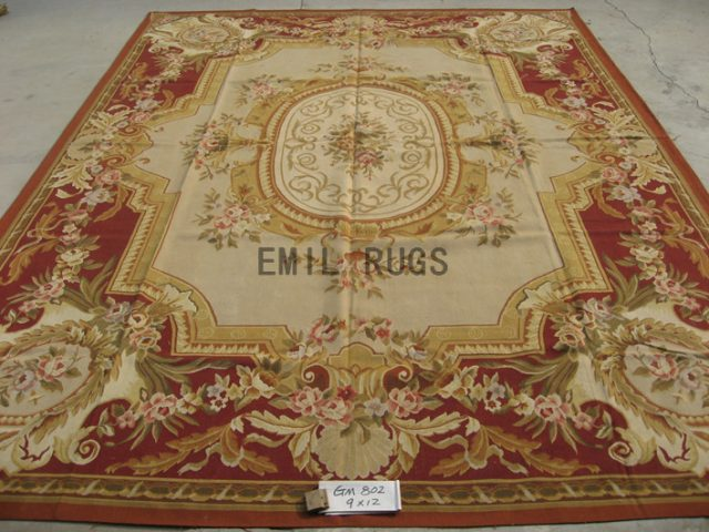 flat weave aubusson carpet 9' X 12' Ivory Field Red Border authentic wool french