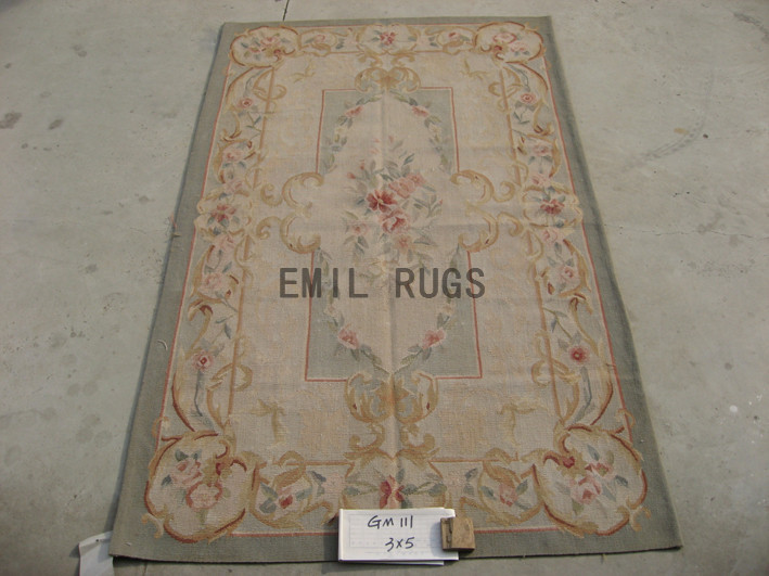 flat weave aubusson rug 3' X 5' Ivory Field Ivory Border handmade