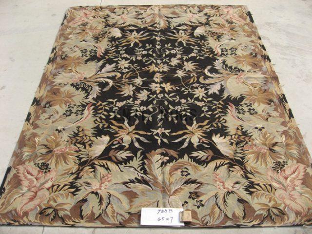 flat weave aubusson carpet 5.5' X 7' Black Field Multi-Colored Border handmade