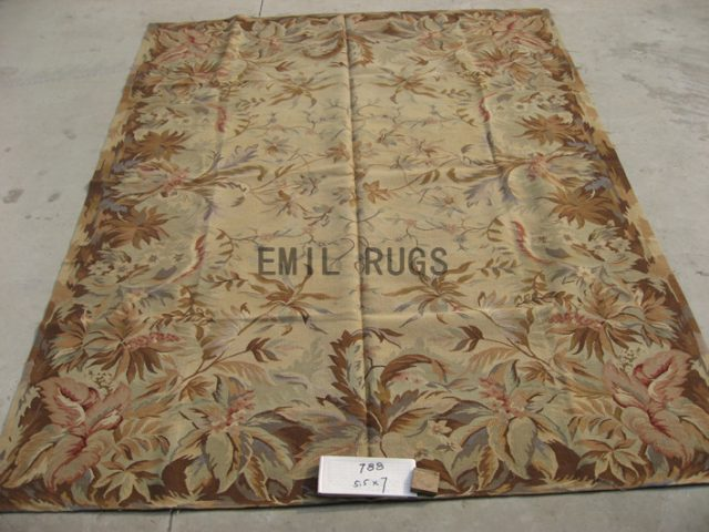 flat weave aubusson rug 5.5' X 7' Ivory Field Multi-Colored Border authentic wool french