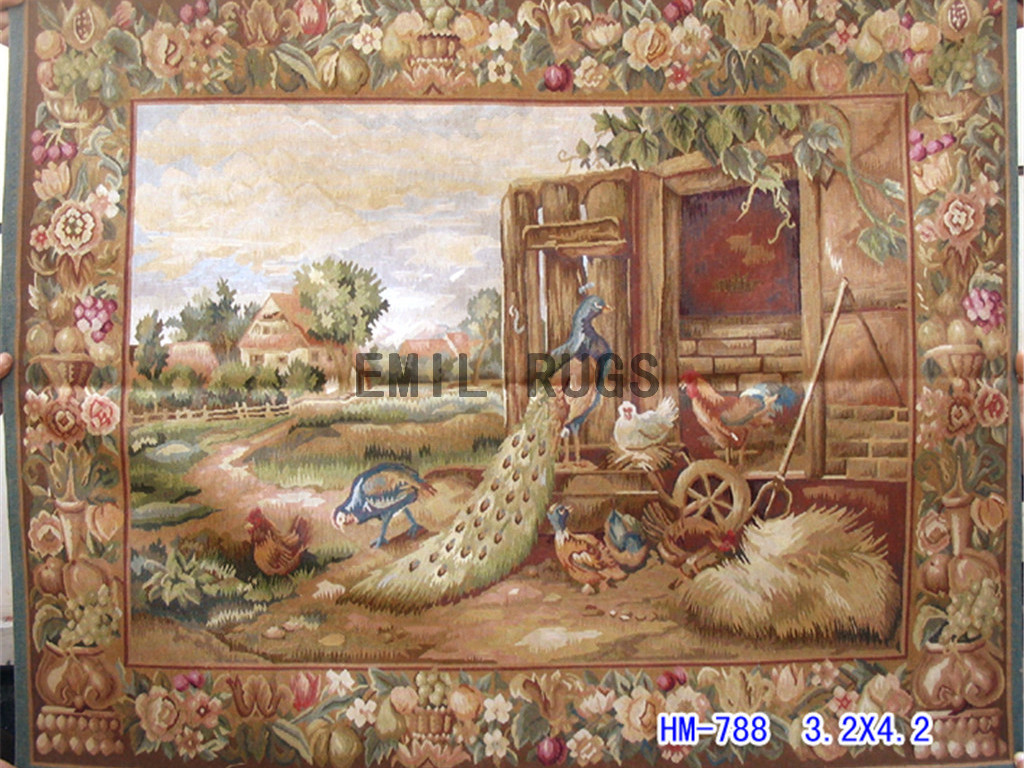 wool vintage european french aubusson gobelin 3.2'x 4.2′ wall tapestry