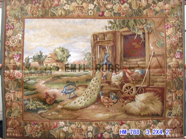 wool vintage european french aubusson gobelin 3.2'x 4.2' wall tapestry