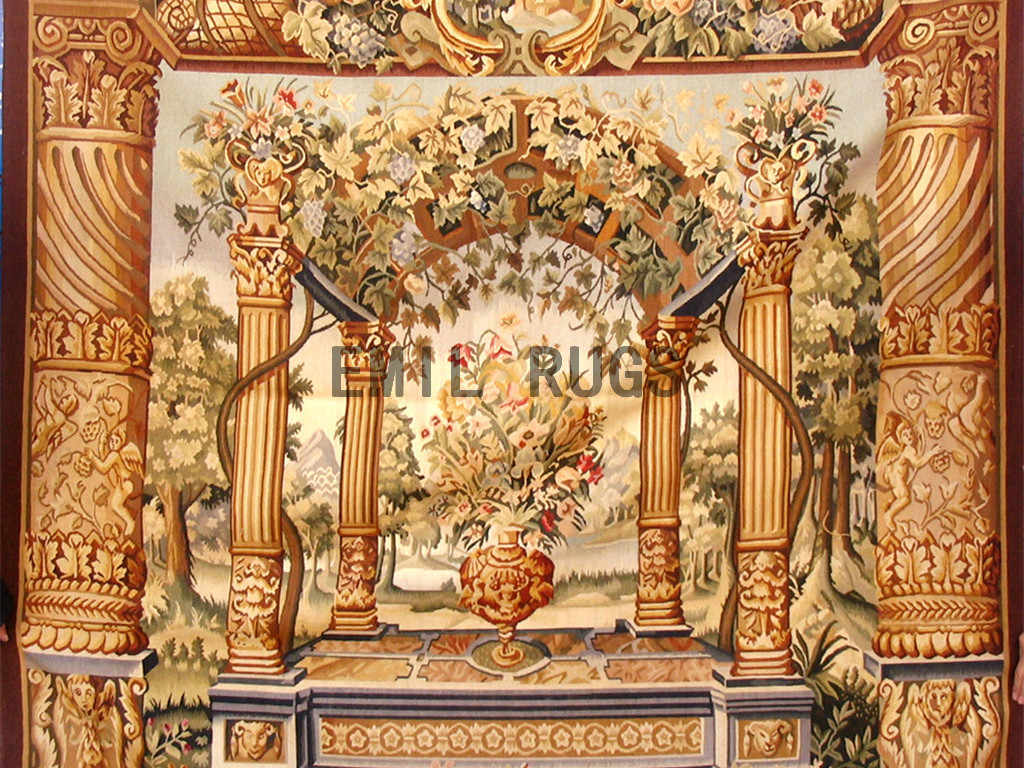 wool antique flat weave aubusson gobelin 5.5'x 6′ tapestry wall hangings