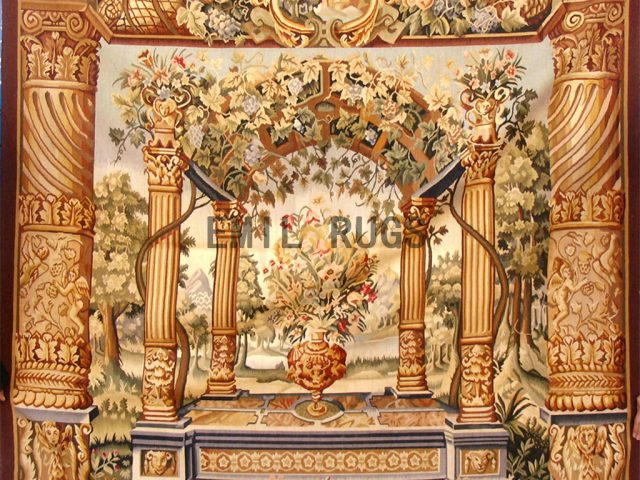 wool antique flat weave aubusson gobelin 5.5'x 6' tapestry wall hangings