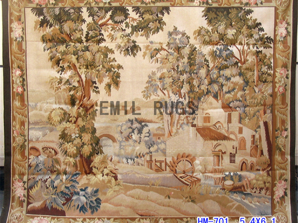 wool antique authentic aubusson gobelin 5.4'x 6.1′ wall tapestry