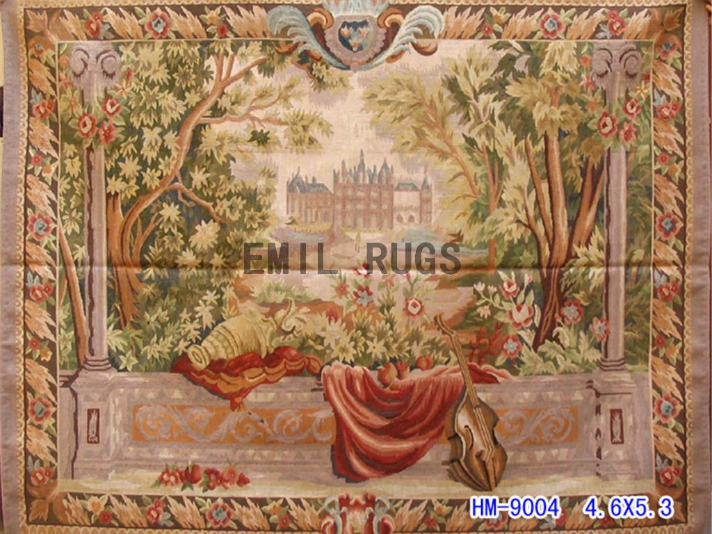 wool vintage european french aubusson gobelin 4.6'x 5.3′ wall tapestries