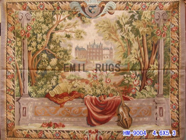 wool vintage european french aubusson gobelin 4.6'x 5.3' wall tapestries