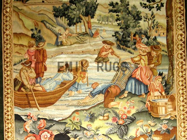 wool antique flat weave aubusson gobelin 5.8'x 7.3' art tapestries