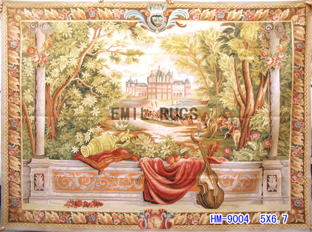 wool antique hand woven aubusson gobelin 5'x 6.7′ art tapestries