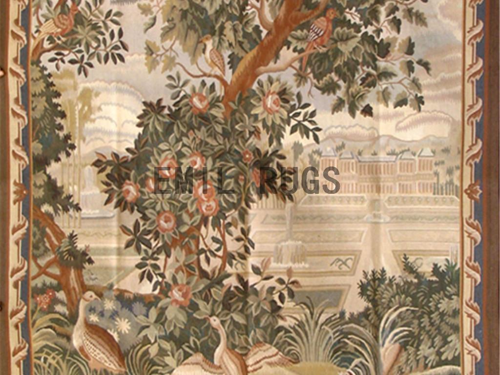wool antique hand woven aubusson gobelin 5.2'x 7.2′ art tapestry