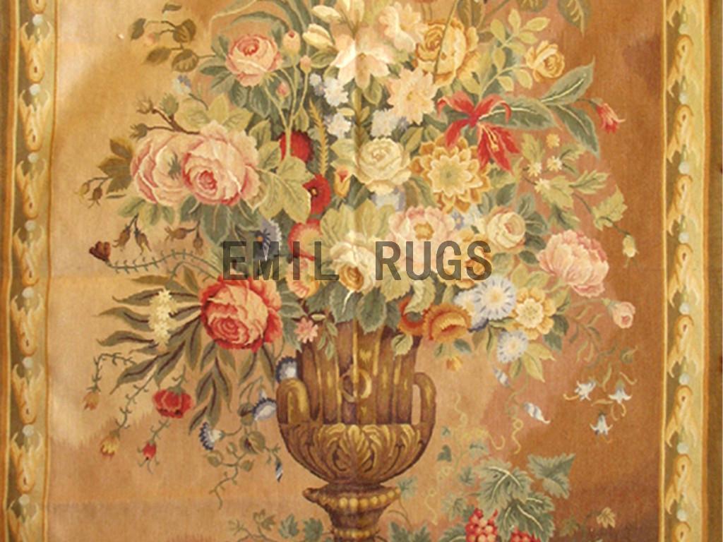 wool antique flat weave aubusson gobelin 4.1'x 5.2′ art tapestry