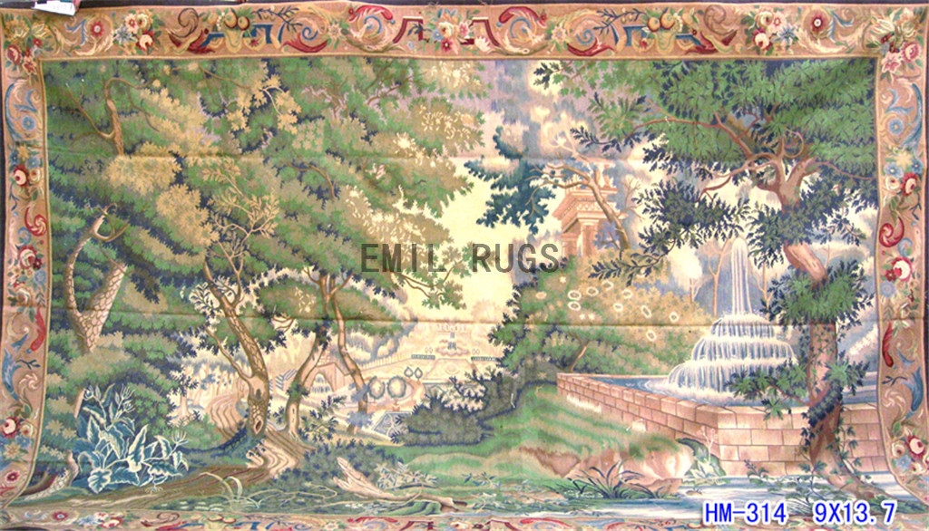 wool antique european french aubusson gobelin 9'x 13.7′ wall tapestry