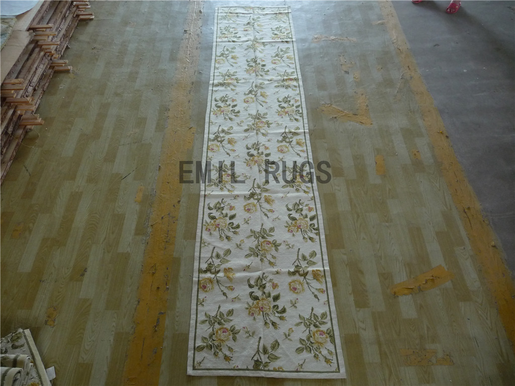 needlepoint rug Runner 2.5' X 12' Ivory Field Green Border 100% wool european french hand stitched