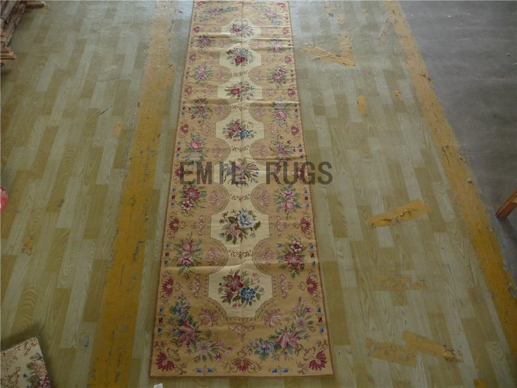 needlepoint carpets Runner 2.7' X 10' Beige Field Beige Border 100% wool european french handmade