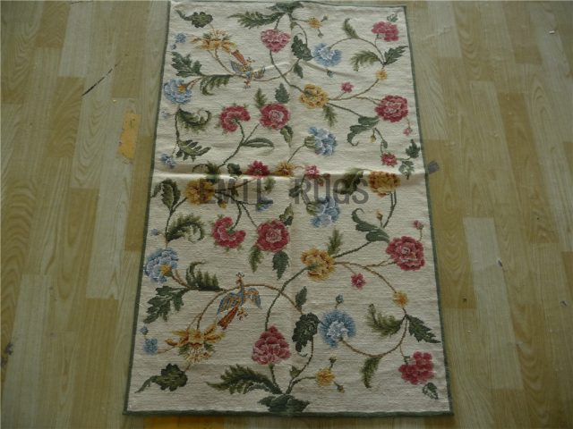 needlepoint rugs Runner 2.5' X 4' Ivory Field Ivory Border 100% wool european french authentic