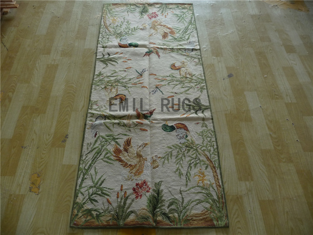 needlepoint area carpets Runner 2.5' X 6' Ivory Field Ivory Border 100% wool european french authentic