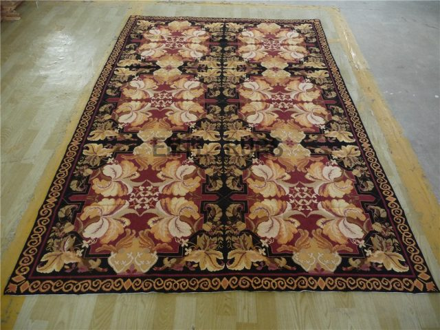 needlepoint carpets 6' X 9' Black Field Purple Border 100% wool european french hand stitched