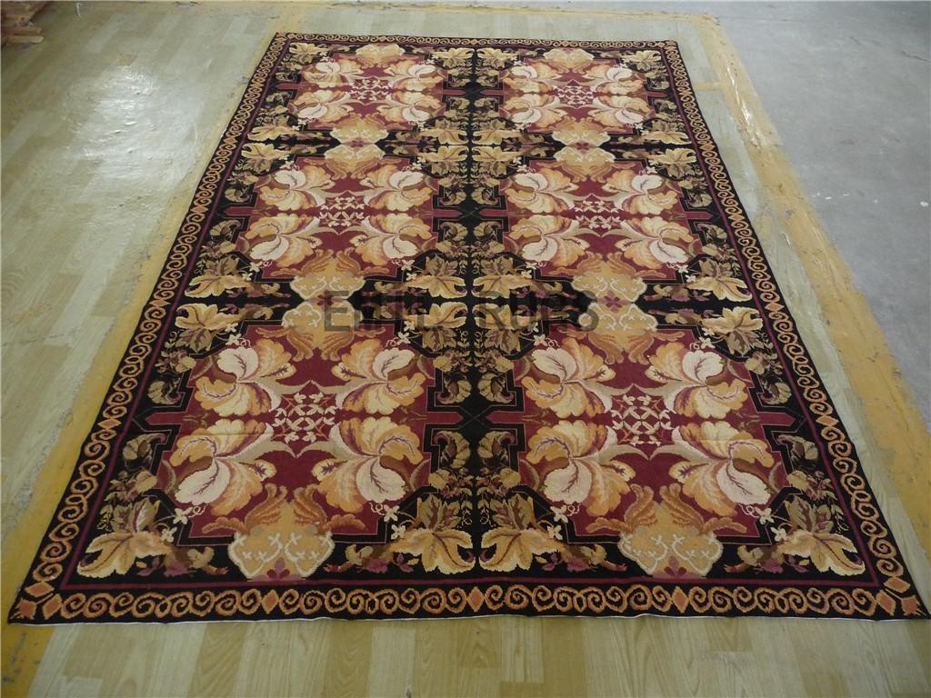 needlepoint carpets 6' X 9' Black Field Purple Border 100% wool european french hand stitched