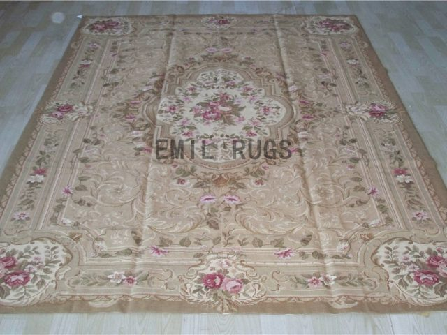 needlepoint rug 6' X 9' Brown Field Beige Border 100% wool european french handmade