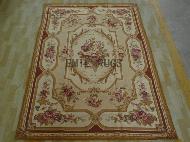 needlepoint area carpets 6' X 9' Ivory Field Beige Border 100% wool european french authentic