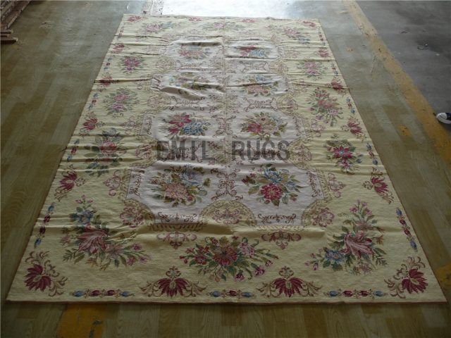 needlepoint area carpets 6' X 9' Ivory Field Yellow Border 100% wool european french hand stitched