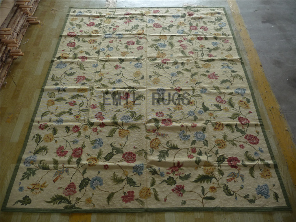 needlepoint area carpets 8' X 10' Ivory Field Green Border 100% wool european french authentic