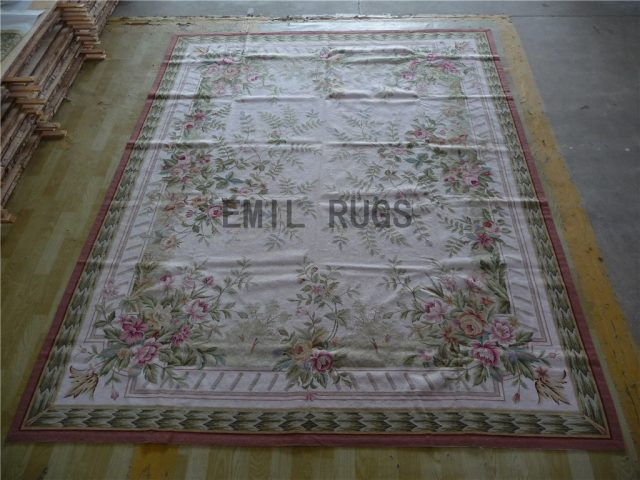 needlepoint area carpets 8' X 10' Ivory Field Multi-Colored Border 100% wool european french authentic