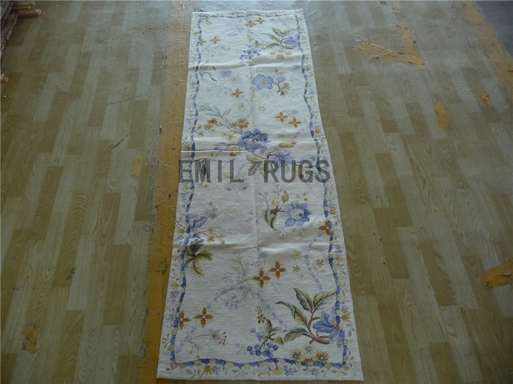 needlepoint carpet Runner 2.5' X 8' Ivory Field Blue Border 100% wool european french hand stitched