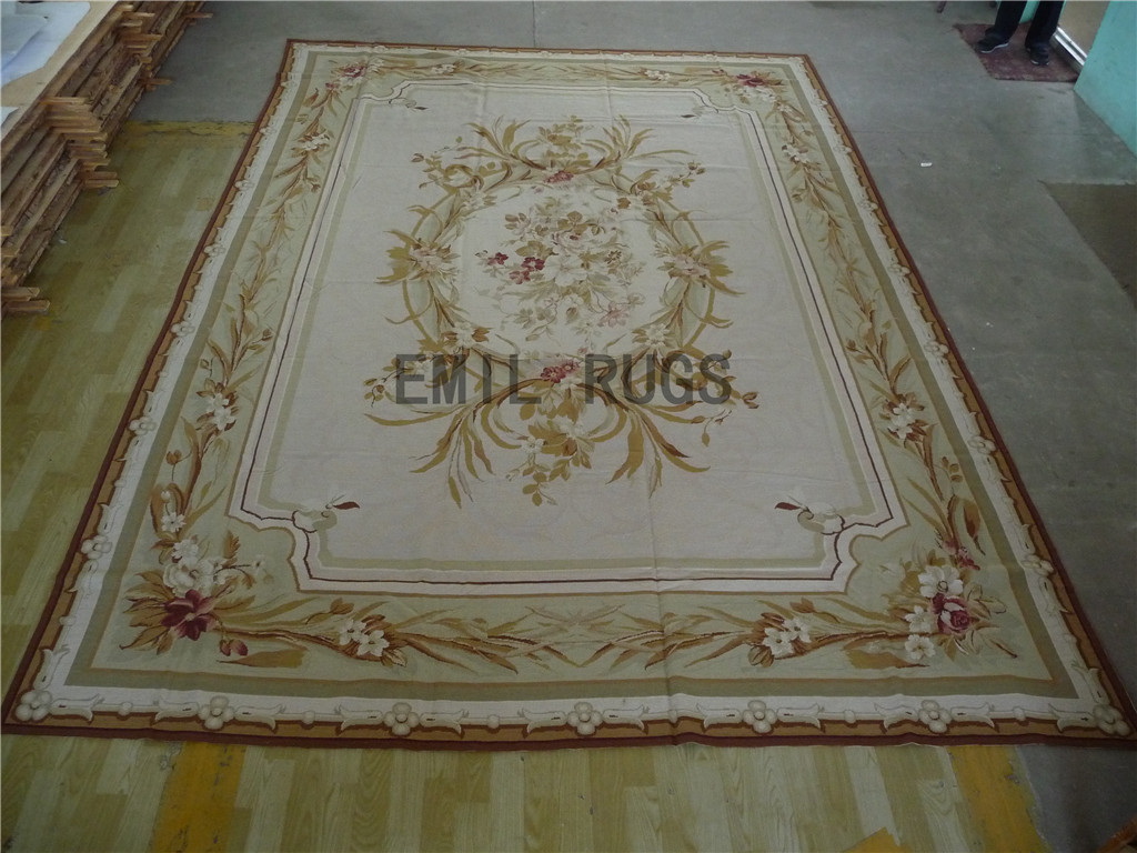 needlepoint carpets Oversized 10' X 14' Ivory Field Aqua Border 100% wool european french handmade