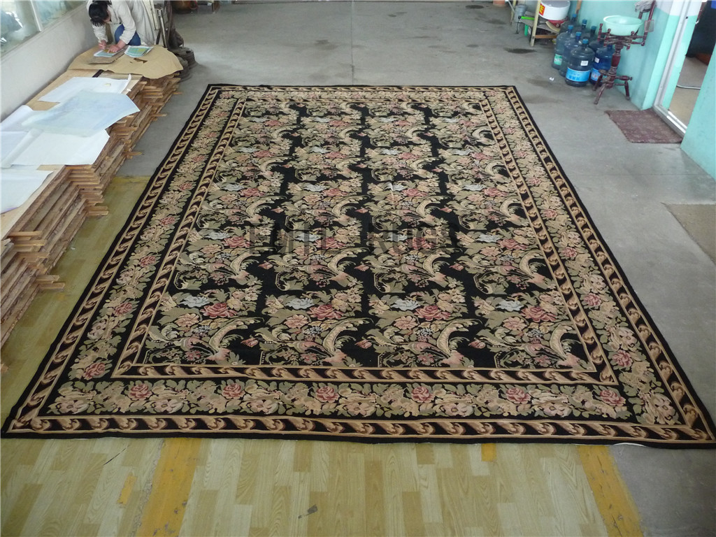 needlepoint rug Oversized 11' X 16' Black Field Multi-Colored Border 100% wool european french handmade