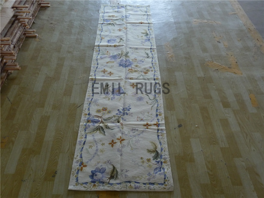 needlepoint rug Runner 2.5' X 10' Ivory Field Blue Border 100% wool european french authentic