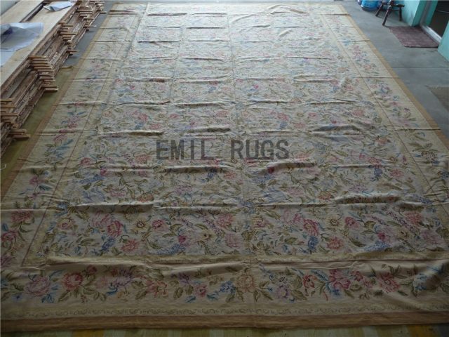 needlepoint rugs Oversized 13' X 14' Ivory Field Ivory Border 100% wool european french hand stitched