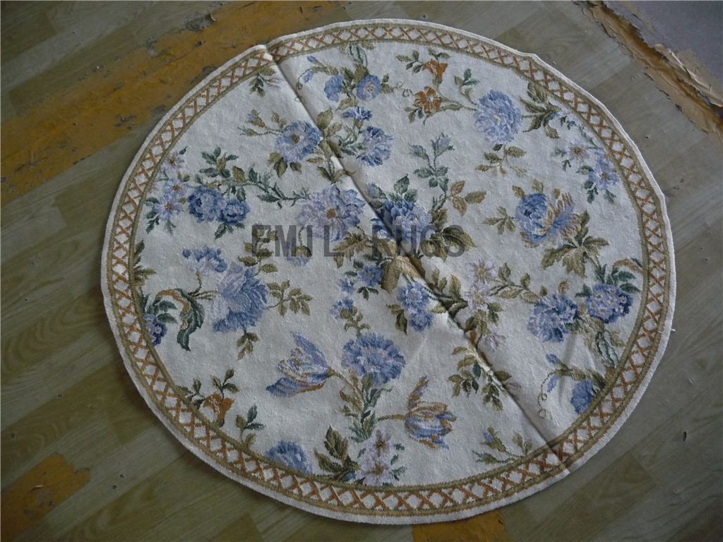 needlepoint carpets Round 4' X 4' Ivory Field Beige Border 100% wool european french authentic