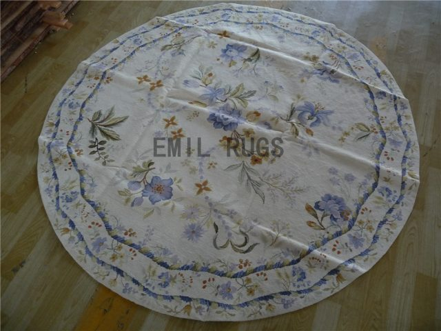 needlepoint carpets Round 6' X 6' Ivory Field Blue Border 100% wool european french handmade