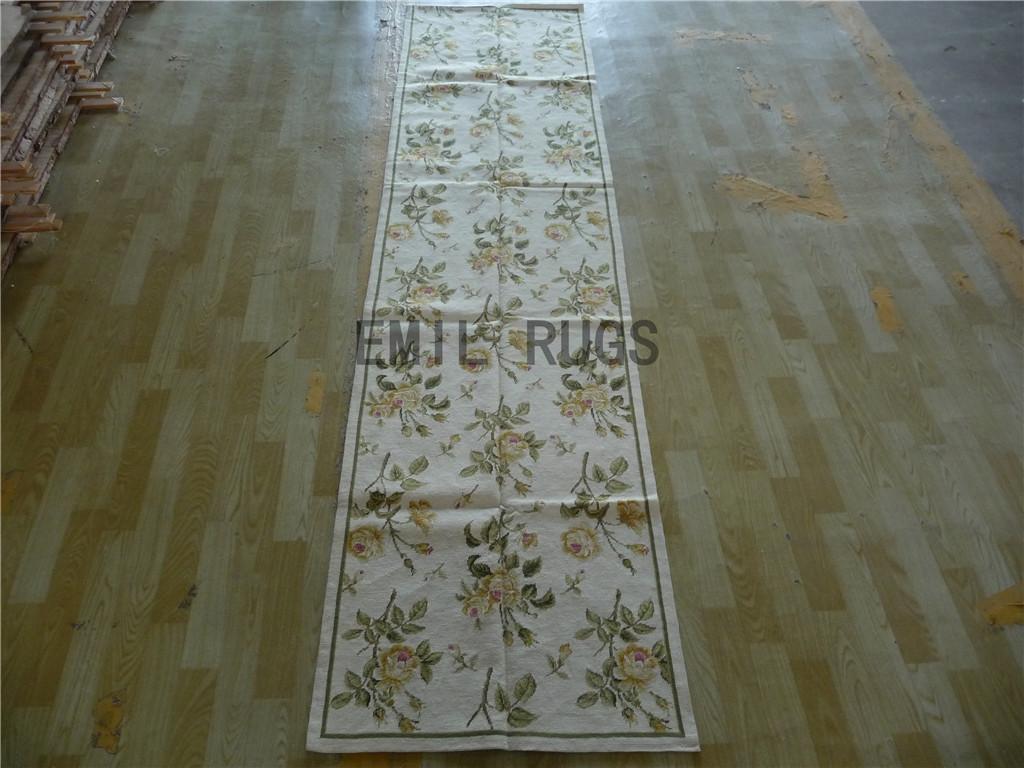 needlepoint carpets Runner 2.5' X 10' Ivory Field Green Border 100% wool european french handmade