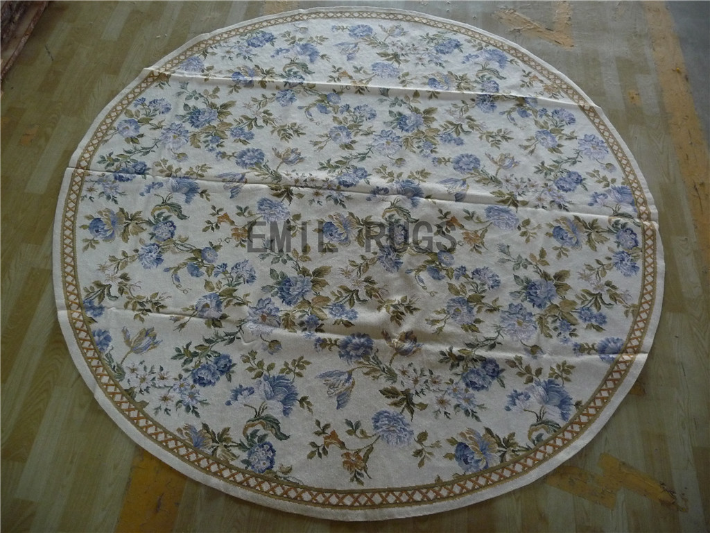 needlepoint rug Round 8' X 8' Ivory Field Beige Border 100% wool european french hand stitched