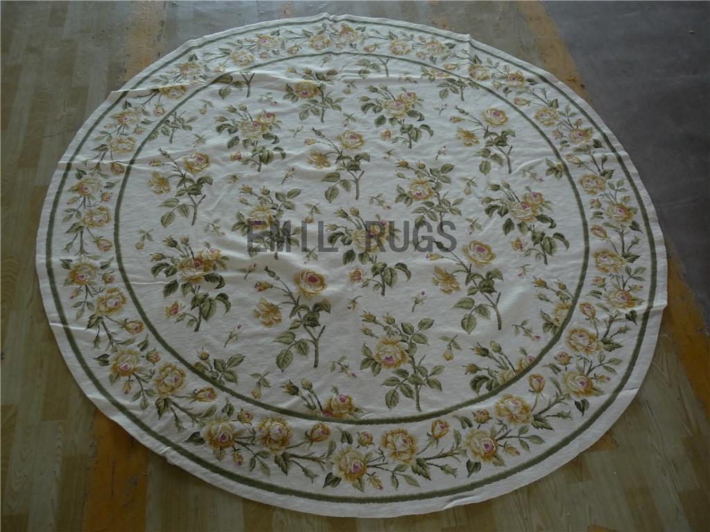 needlepoint area rugs Round 8' X 8' Ivory Field Green Border 100% wool european french handmade
