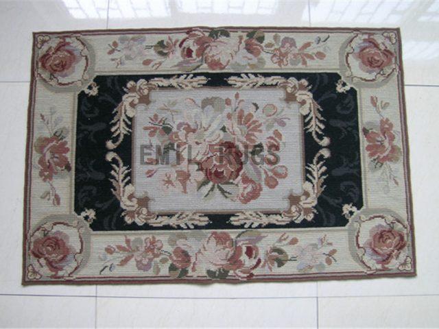 needlepoint rug Small Size 2' X 4' Black Field Ivory Border handmade
