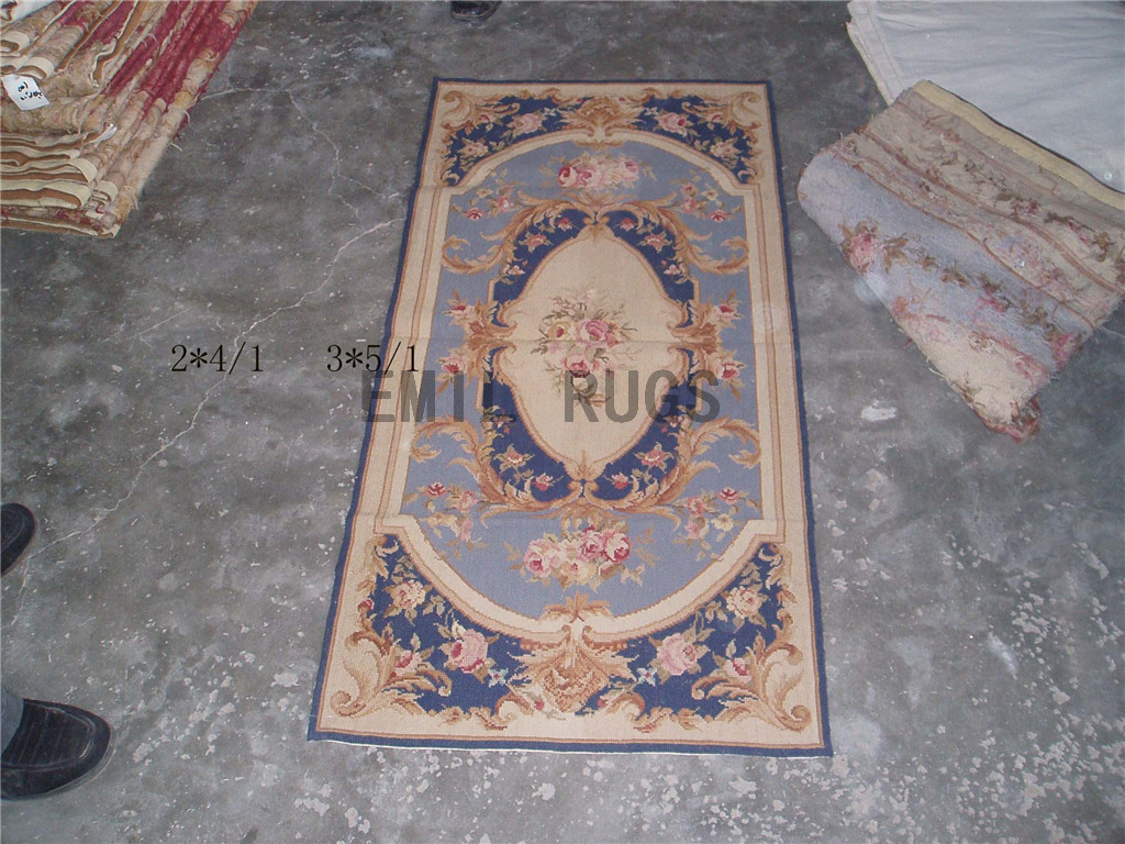 needlepoint carpets Small Size 2' X 4' Blue Field Yellow Border handmade