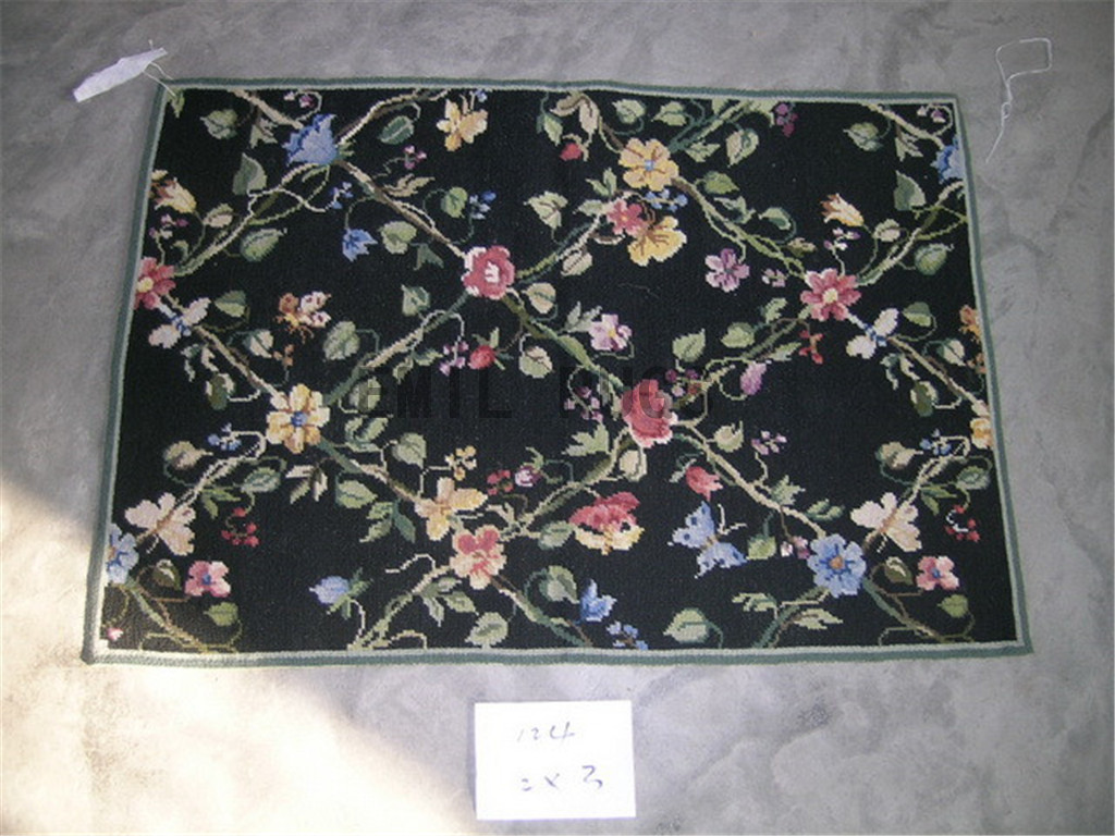 needlepoint rugs Small Size 2' X 4' Black Field Black Border hand stitched