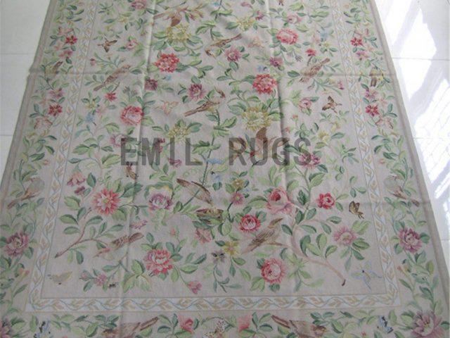 needlepoint carpets Small Size 2' X 4' Ivory Field Ivory Border hand stitched