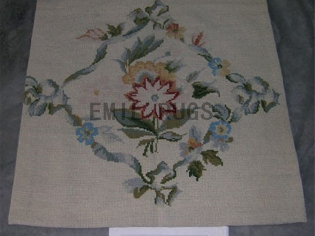 needlepoint carpets Small Size 2.3' X 2.3' Ivory Field Ivory Border authentic