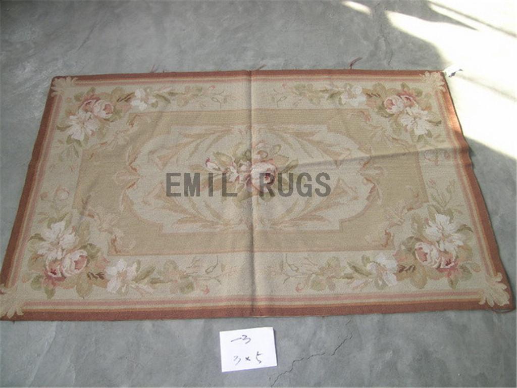 needlepoint rugs Small Size 2.4' X 3.9' Ivory Field Ivory Border handmade