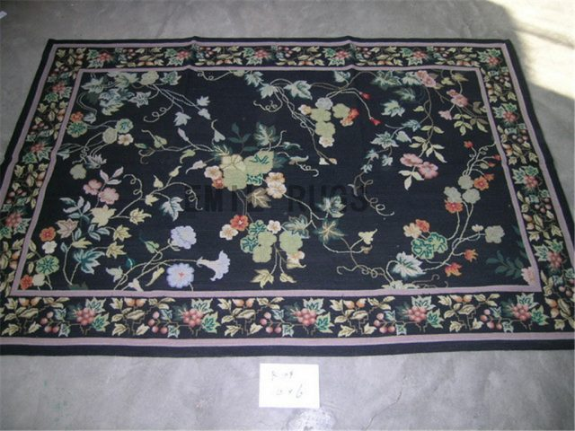 needlepoint carpet 3' X 8' Black Field Black Border hand stitched
