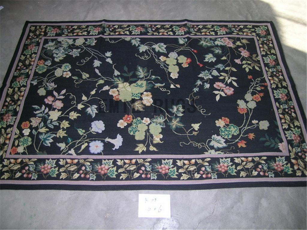 needlepoint carpet 3' X 8' Black Field Black Border hand stitched